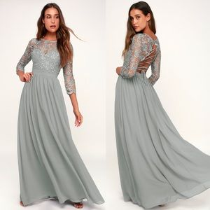Lulus Touch My Heart Sage Grey Maxi Dress Lace Up